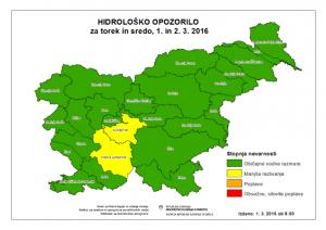 Hidrološko opozorilo, ARSO, 1. marec 2016