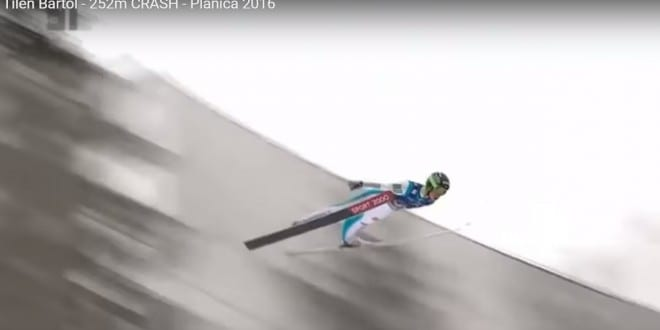 Tilen Bartol, Planica 2016, 252 metrov s padcem. Foto: YouTube.com, TV SLO.